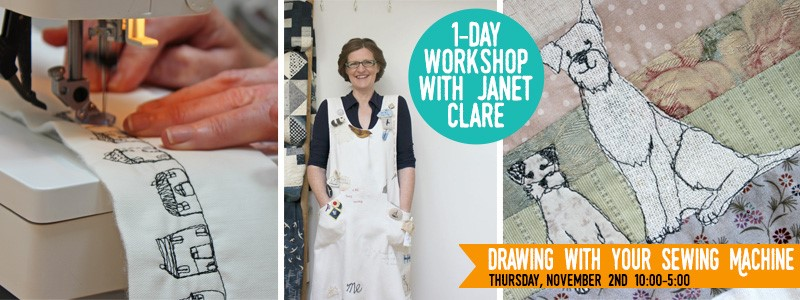 Janet Clare at The Quilter's Lodge - Draw with your sewing machine - 1 Day Workshop